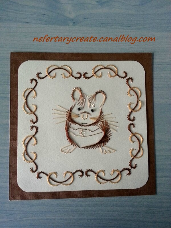 Carte brodée hamster