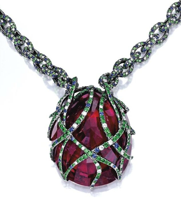 Rubellite, Coloured Stone and Diamond Necklace (back)