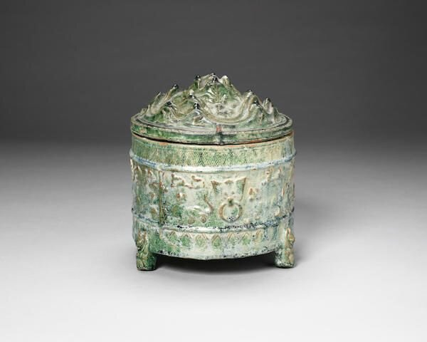 A green-glazed incense burner and cover, boshanlu, Han Dynasty