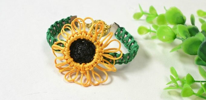 Pandahall Free Instructions on Making Charming Nylon Thread Braided Sunflower Bracelet (4)