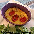 Clafoutis tomates cerise/fourme de montbrison