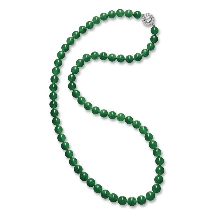 Exceptional Jadeite Bead and Diamond Necklace1