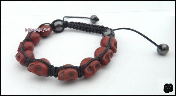 Bracelet Shamballa - 9 perles tête de mort marrons& 2 hématites