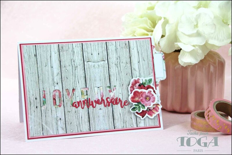 Carte Joyeux anniversaire collection Shabby Love DT Tacha 1p