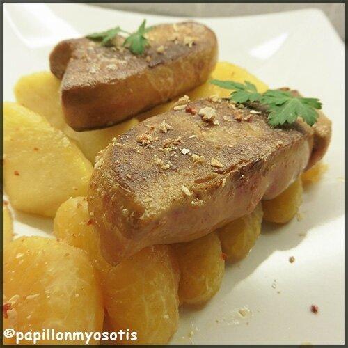 Escalopes de foie gras aux pommes et clémentines