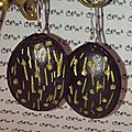 gpld and black polymer clay earrings