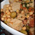 P'tit sauté de veau à l'orientale: pois chiches, olives et chorizo