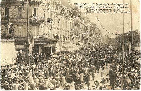 CPA Belfort Inauguration 3 Sièges 1913 Départ Gare