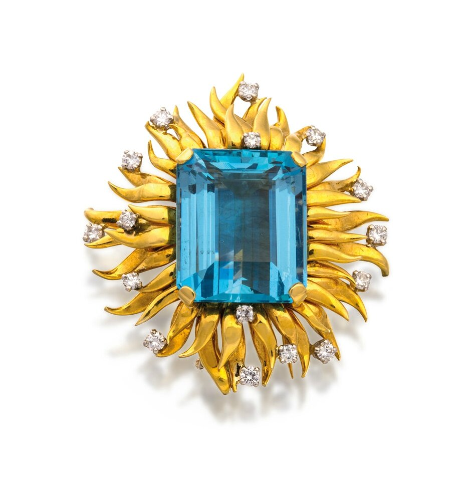 Platinum, 18ct gold, aquamarine and diamond brooch, Schlumberger, Tiffany & Co., circa 1992