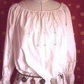 blouse en popeline et incrustation de dentelle