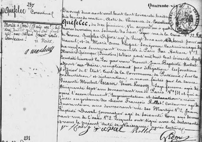 1868 le 22 août N de Corentine à Puteaux 92-3