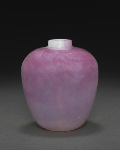 An unusual jiaoliao pink and white glass jar, 18th century
