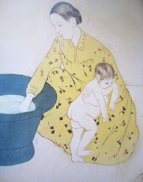 Bain d'enfant 1890-1891 pointe sèche, vernis mou et aquatinte