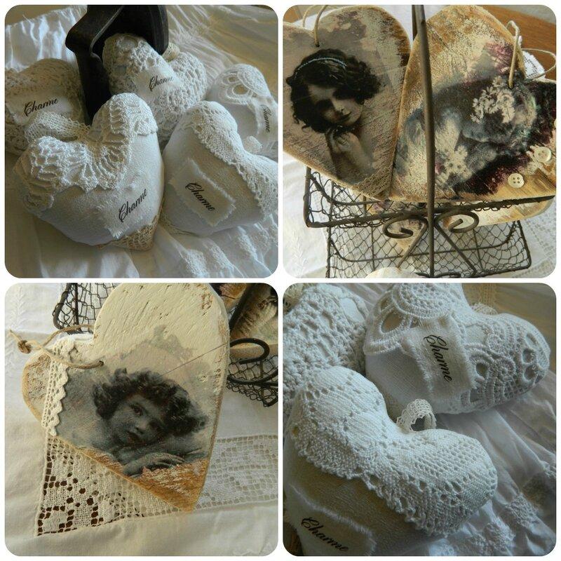 collagecoeur bois et tissu