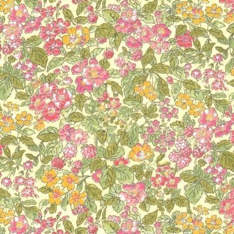 Tissu LIBERTY Prince rose jaune vert