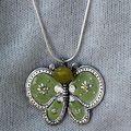Sautoir papillon argent vert