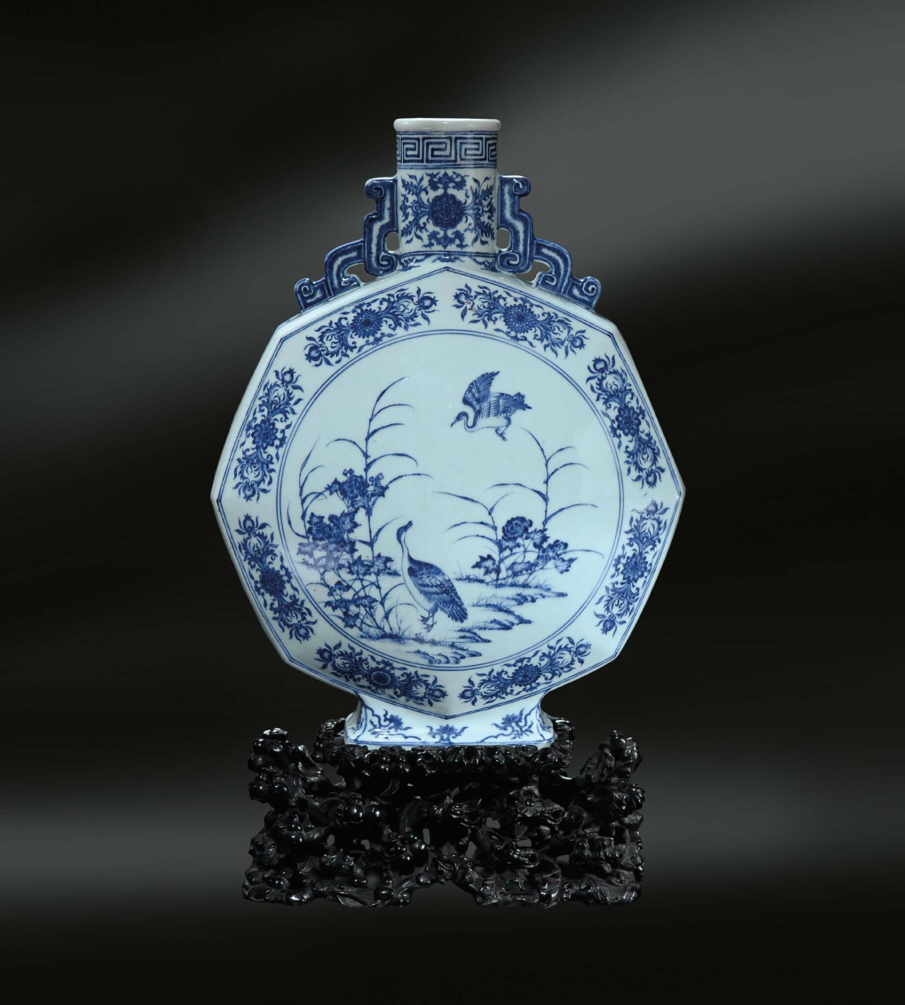 A magnificent and very rare blue and white octagonal shaped moon flask, China, Qing Dynasty, Yongzheng Mark and Period