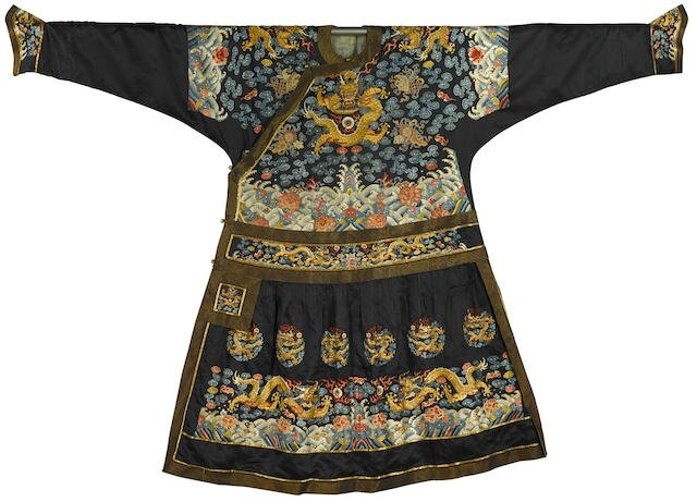 A rare Imperial dark blue-ground formal 'dragon' robe, chaofu, Qianlong-Jiaqing period