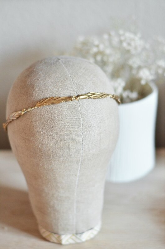 COURONNE HEADBAND BANDEAU DORE OR