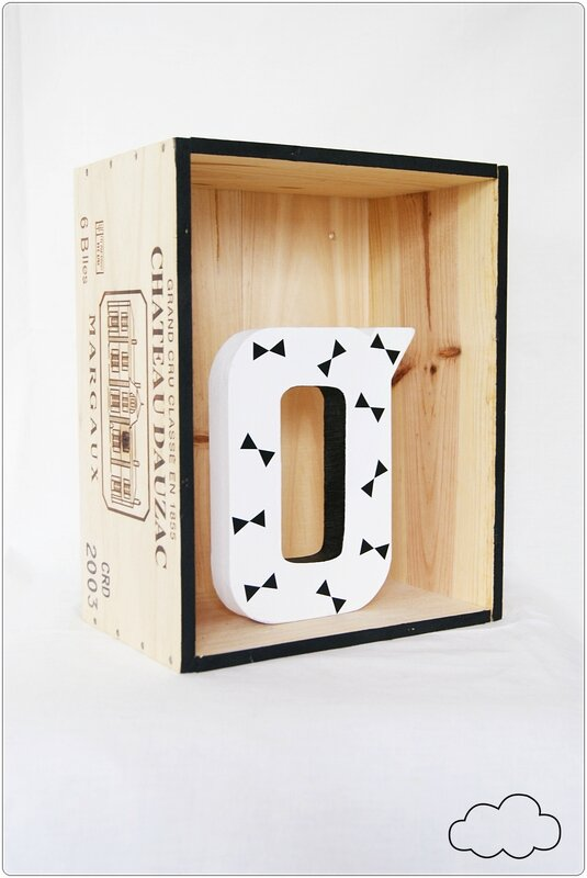 déco caisse de vin lettre O