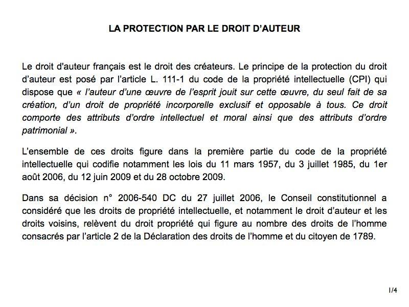 Loi de protection droit d'auteur