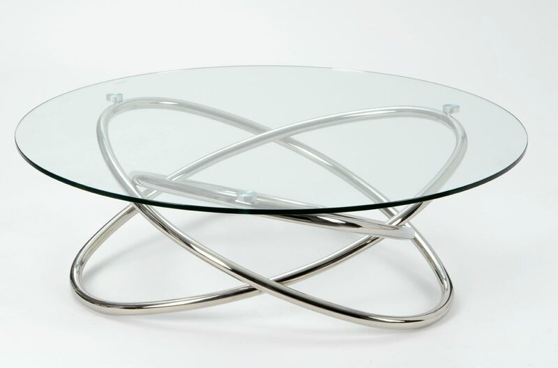 table basse ronde en verre et chrome