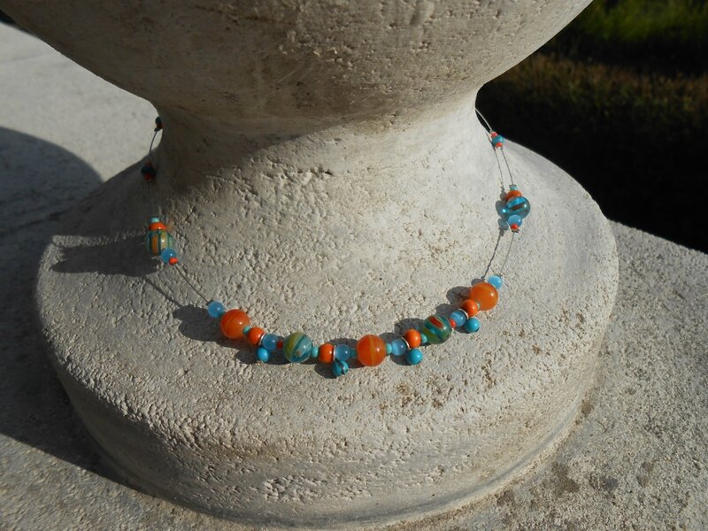 Collier turquoise/orange (ref: CO009) : 12 euros