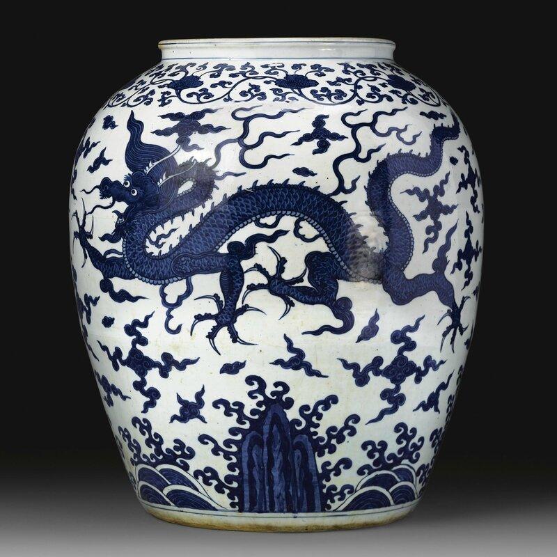An impressive blue and white 'Dragon' jar, Wanli mark and period
