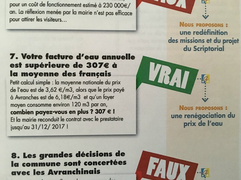 tract prix de l'eau Avranches campagne électorale élections municipales 2014