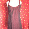 robe en taffetas frip/bretelles soie rouge