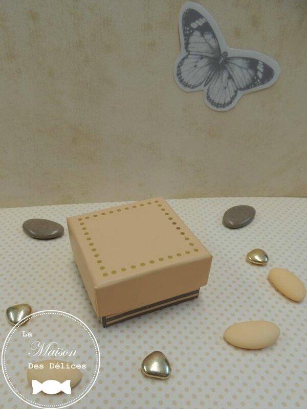 boite elegante dragees mariage qualite contenant ballotin peche saumon abricot poudre taupe dore amande avola chocolat elegant ecrin 3
