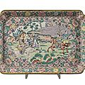 Tray in enamelled bronze depicting battle, manufacturing cantonese, end of sec. xix
