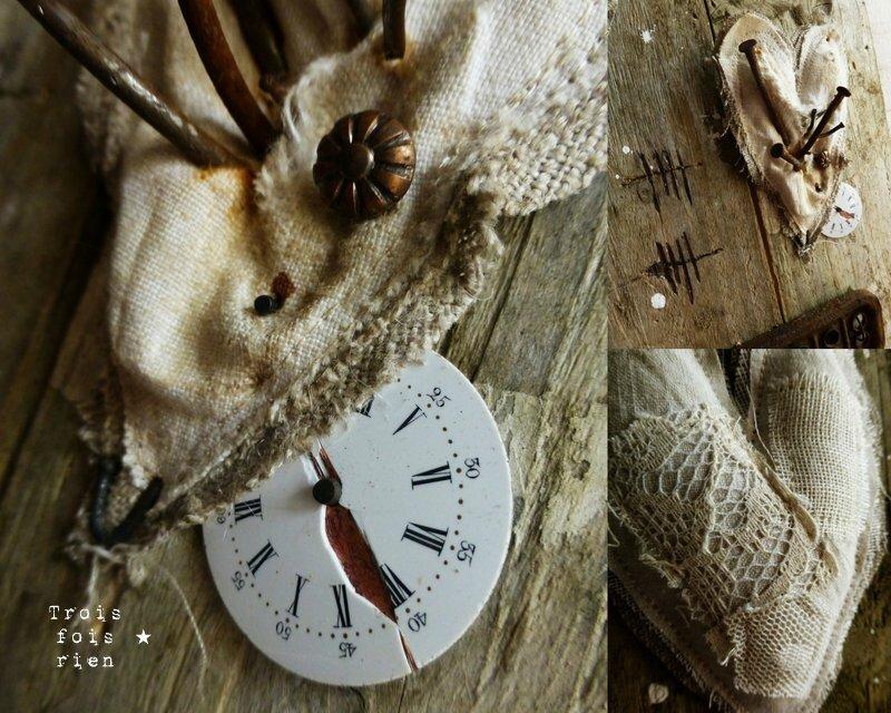 A l'usure, assemblage bois tissus, récup', rouille, coeur 5