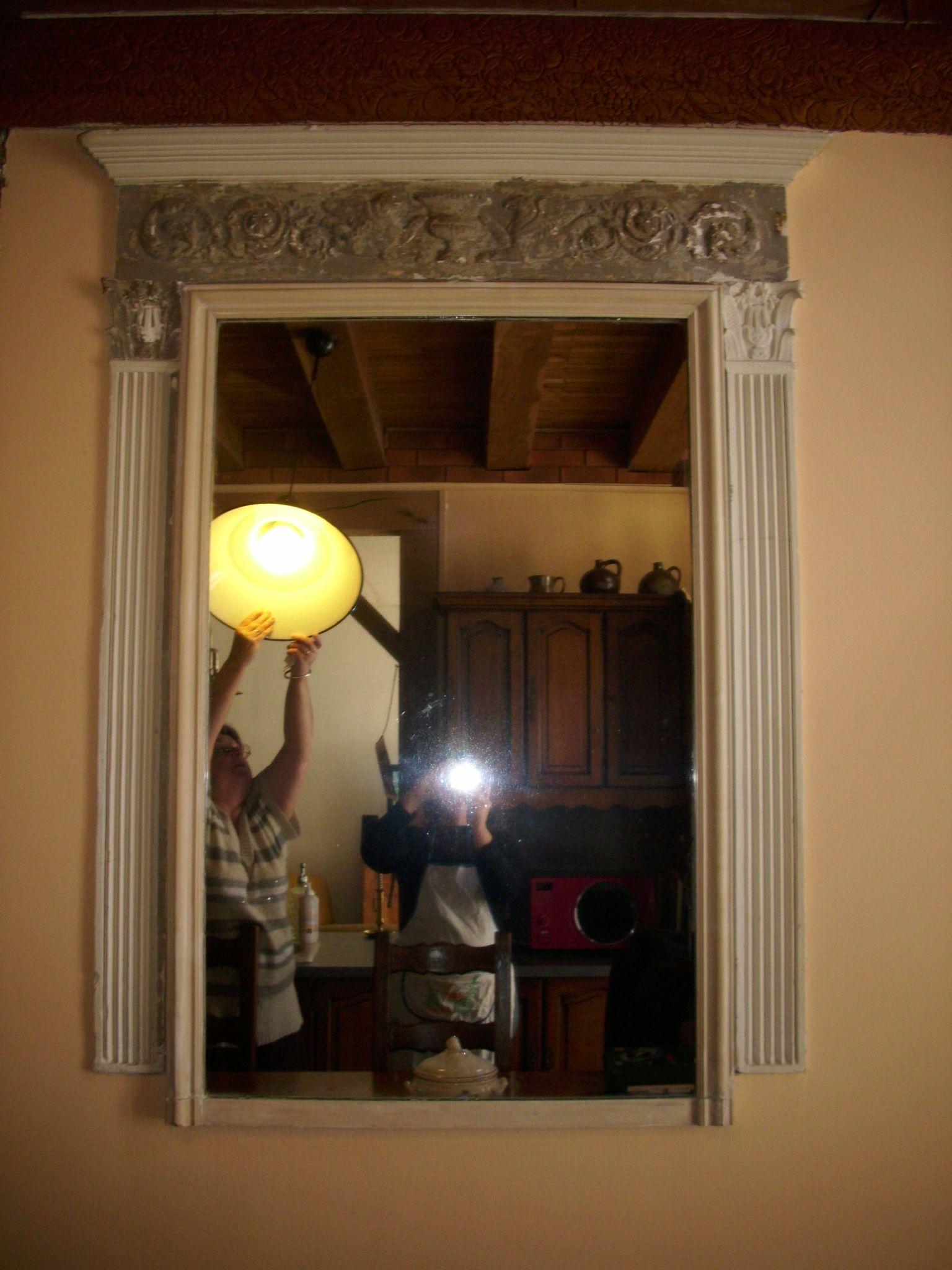 Avant pendant la transformation miroir fixe au relooking for Miroir magique au mur