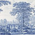 Plate with italianate landscape, delft, ca. 1670 - ca. 1700