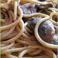 Spaghettis complets amande - champignons
