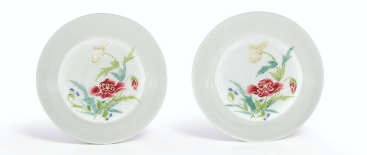 A fine pair of Famille-Rose 'Peony' saucers, Marks and period of Yongzheng