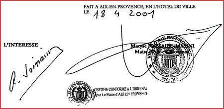 Contrat initial entre Alain Joissains et Maryse Joissains