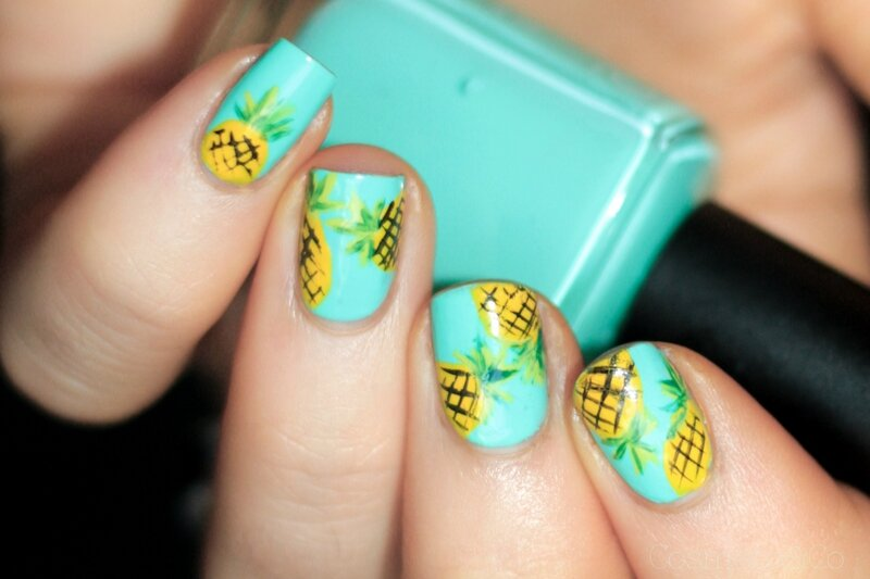 nail art ananas tropical été summer pineapple_