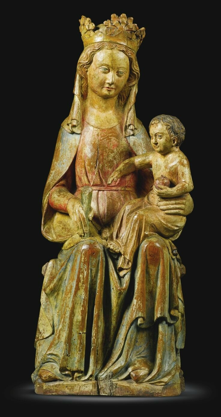 French, Lorraine, circa 1330-1350, Virgin and Child enthroned