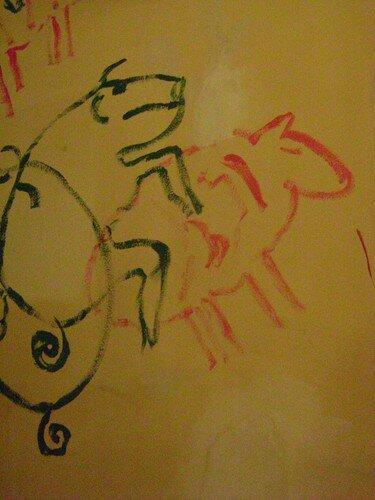 Roumanie, Cluj-Napoca, dessins sur les murs du bar