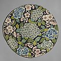 Roundel with hydrangea, prunus and peony (?), china, late qing dynasty, circa 1800-1911