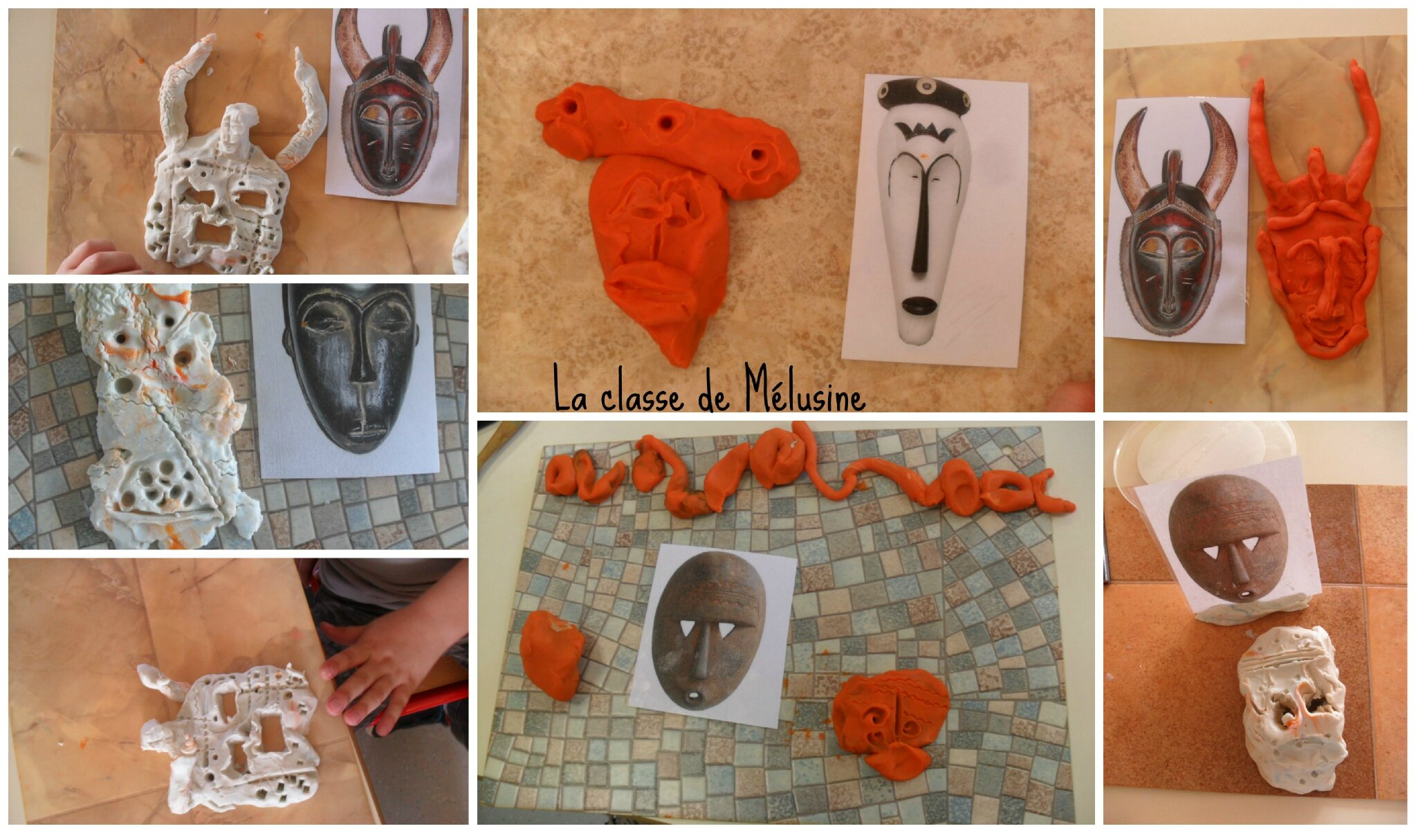 masques collage photo de petit floril ge d 39 afrique la classe de m lusine. Black Bedroom Furniture Sets. Home Design Ideas