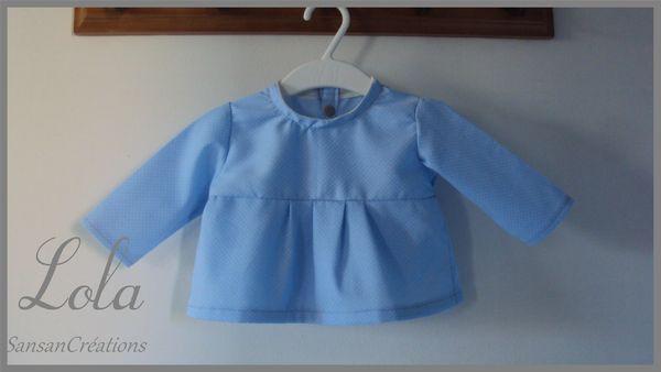Ens Pantalon Tunique courte bleu ciel 3-6 Mois (7)