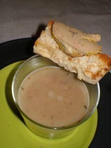 lentille en velouté au foie gras