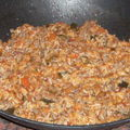 Poêlée de riz au steack haché
