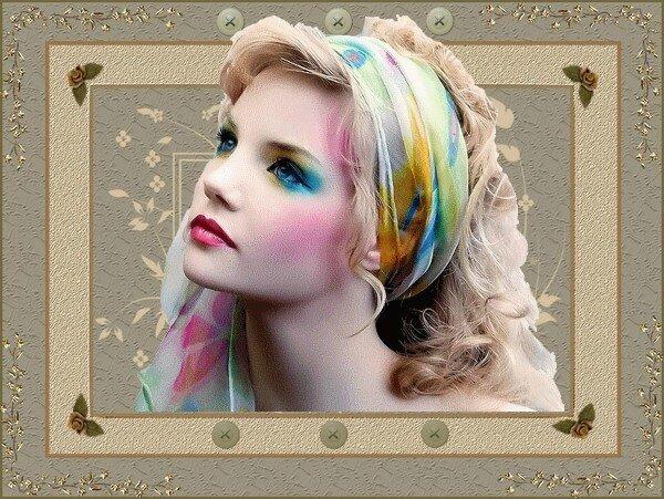 cadre femme foulard