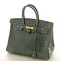 Hermes paris, sacs birkin, sac plume & sacs kelly en crocodile porosus et alligator chez besch cannes auction