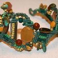 Bracelet Macramé de Jade Jaune et perles de verre, fil de lin naturel teinté vert d'eau