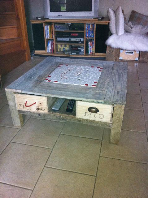 Jolie table basse réalisée par Mariette